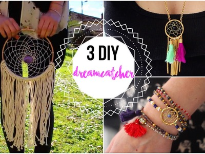 DIY 3 EN 1 ATTRAPE-REVES. DECO BRACELET ET COLLIER- Dreamcatcher DIY FRANCAIS