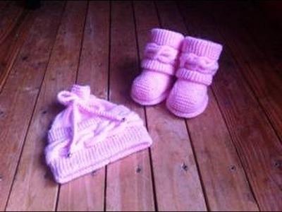 Bonnet magnifique à torsade bébé tricot 2. gorro bebe tejido a dos agujas 2