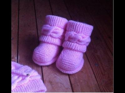 Boots style Uggs tricot bébé 1. Botitas bebe dos agujas Uggs 1