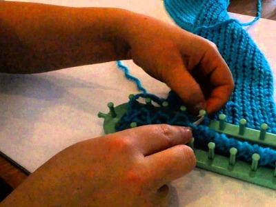 Comment faire une echarpe au tricotin long en tricot double 2eme partie