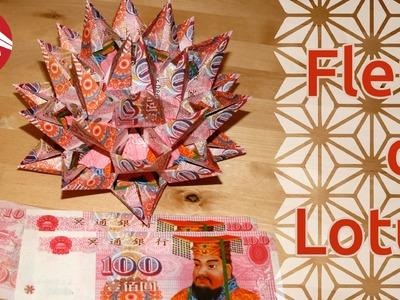 Origami - Fleur de lotus modulaire en billets - Banknotes Modular Lotus Flower [Senbazuru]