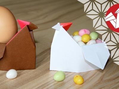 Tuto Origami - Poule de Paques - Coquetier [Senbazuru]