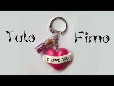 """• [TUTO FIMO] Porte-clés coeur """"romantique"""" •"""
