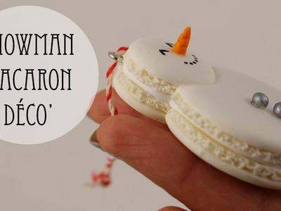 Déco' Sapin: Bonhomme De Neige Macaron (pâte polymère)