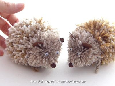 Hérissons en pompons - Tuto d'un d'un bricolage automne en laine