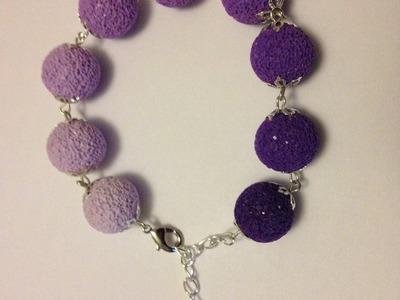 Tuto fimo débutants - bracelet perles dégradées et texturées au sucre. sel