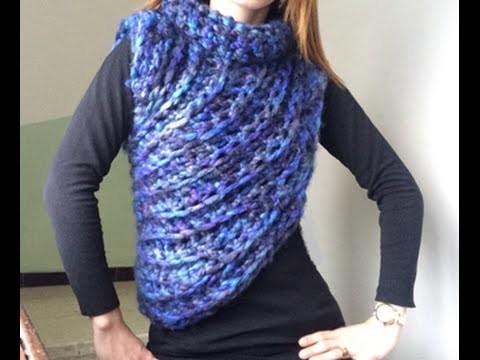 Tuto crochet : Pull asymétrique crochet avec les doigts facile