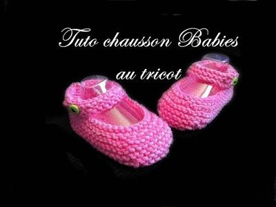 TUTO TRICOT CHAUSSON BEBE BALLERINE BABIES AU TRICOT FACILE