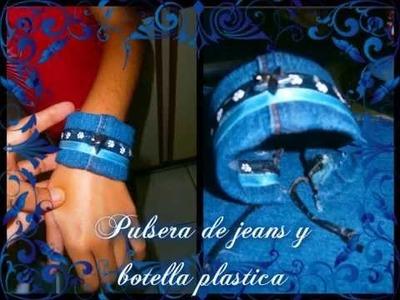 Pulsera de Botellas Plasticas Pet y Jeans. Jeans Bracelet
