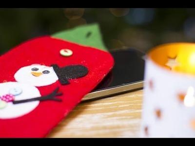 DIY Noël : Housse de téléphone en feutrine avec un bonhomme de neige