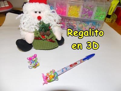 Regalo de gomitas en 3D con telar.  christmas gift with rainbow loom.   cadeau 3D avec elàstiques