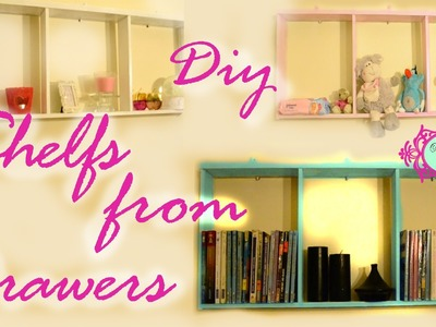 Diy: make a shelf from an old drawer. عمل رفوف بواسطة درج قديم