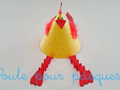 Bricolage de Pâques pour enfant. Fabriquer une poule en papier.