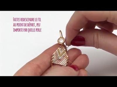 Tuto DIY - Faire ses boucles d'oreilles pastels tissage Brick Stitch de perles Miyuki - Perles & Co