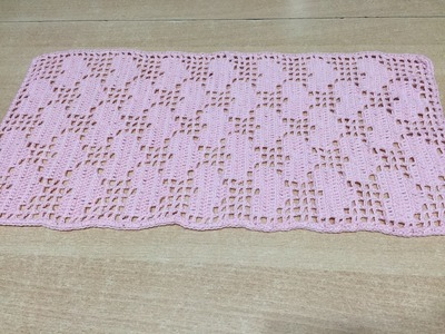 Tuto chemin de table rectangle au crochet spécial gaucher