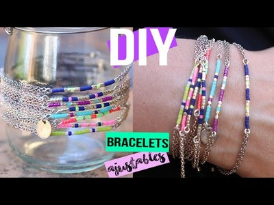 DIY FACILE ┋BRACELET EN PERLES MIYUKI. ROCAILLES ET CHAINES AJUSTABLE - beaded stackable bracelet