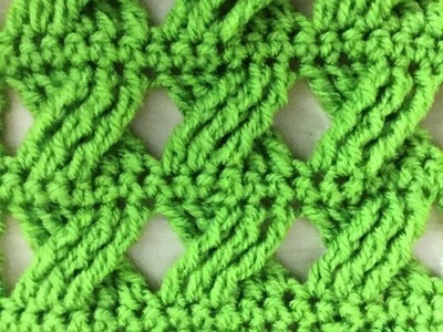 Point fantaisie tressé au crochet très facile. Punto fantasia trenzado tejido a crochet
