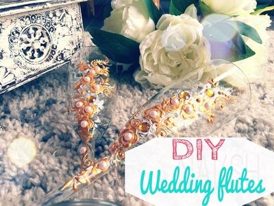 DIY Henna inspired wedding flutes. تزيين كاسات العروسين