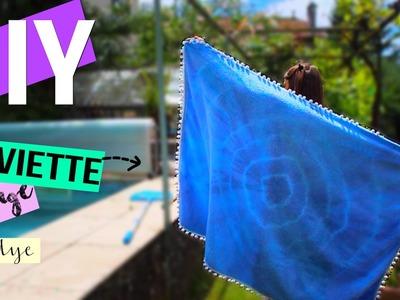 DIY┋SERVIETTE DE PLAGE TIE & DYE A POMPONS _ beach towel tassel, DIY Français