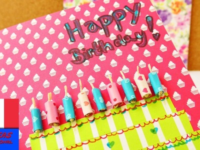 Happy Birthday!!! DIY Carte d'anniversaire soi-même | Super carte en papiers colorés | Gâteau
