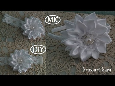 DIY.How to.Headband.Kanzashi flower.Flor de cinta.MK.канзаши: bricoart.kam