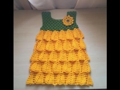 Crochet :Robe tournesol facile partie 2. Vestido girasol tejido a crochet parte 2