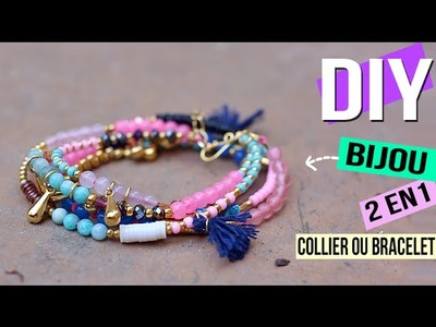 DIY FACILE┋BRACELET OU COLLIER ? BIJOU CONVERTIBLE - versatile Wrap beaded jewelry, DIY Français