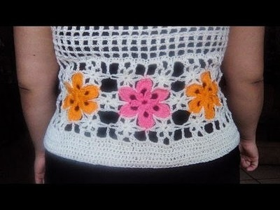 CHALECO CORTO CON FLORES XL en crochet 2 de 3