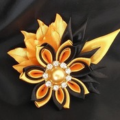 "Broche bijou Kanzashi ""Feuilles d'automne"""