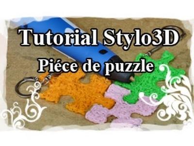 DIY : 3D pen. Stylo 3D Tutoriel N°6 : Porte-clé piéce de puzzle