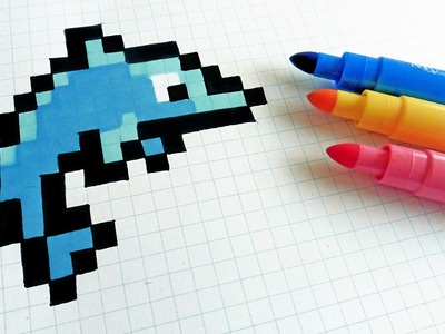 Handmade Pixel Art - How To Draw a Dophin  #pixelart