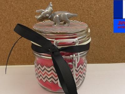 Fête des mères DIY Papier cadeau avec un pot en verre à fabriquer soi-même | Dinosaure pour cadeau