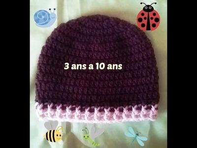 Crochet bonnet bébé de 3 à 10  ans
