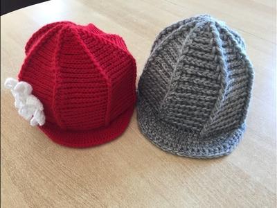 Tuto bonnet, casquette  avec visière  au crochet