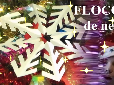 Bricolage de Noël en papier pour maternelle cp ce1 ce2 : Flocon de neige