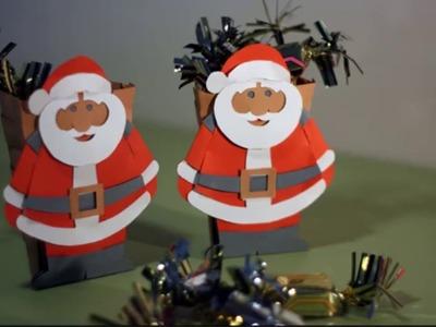 Bricolage en papier : Père Noël avec sa hotte de papillotes
