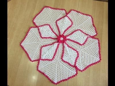 Tuto nappe, tapis hexagonal au crochet spécial gaucher