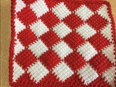 Tuto carré au crochet tunisien spécial gaucher