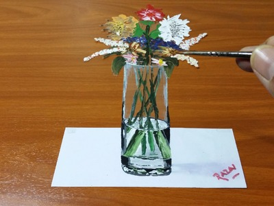 How to Draw and Paint Vase of Fowers 3D illusion  | Dessin 3D | 3D Drawing