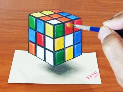 Tuto 1: How to Draw and Paint Rubik's Cube 3D illusion | Dessin 3D | 3D Drawing