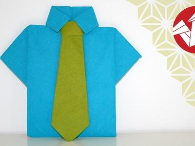 Tuto Origami - Chemise et cravate en serviette [Senbazuru]