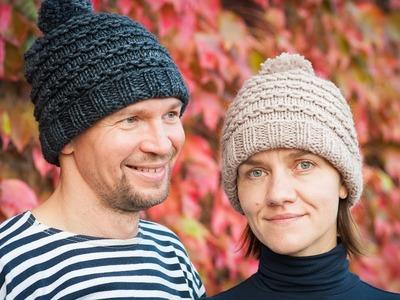 """Tuto tricot : bonnet homme.femme motif """"chaînette"""""""