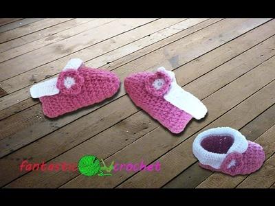 طريقة سهلة لعمل حذاء  كروشيه.Chaussons facile à faire au crochet