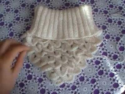Tour de cou pour femme au tricot.et crochet