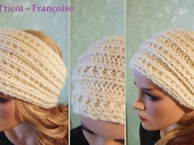 Tuto tricot Headband Bandeau femme Côtes 3.2 point fantaisie | Headband knitting tutorial