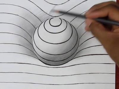 Comment dessiner une Sphère en 3D - Illusion d'optique - Tuto dessin Facile