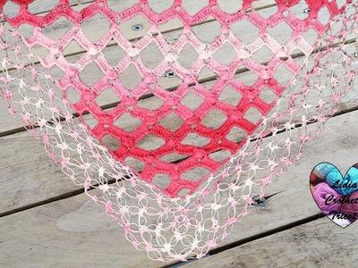 Châle losange crochet. Diamond shawl crochet (english subtitles)