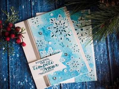 Carte de Noël technique par Marika Lemay - www.lamagiedesetampes.com