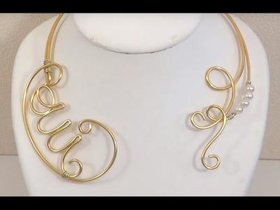 ► [ TUTO ] Création Collier de mariage en fil aluminium et perles nacrées