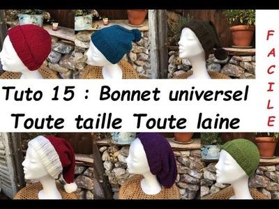 Tuto tricot 15 : tricoter un bonnet toute taille toute laine, sur mesure .  ou pas